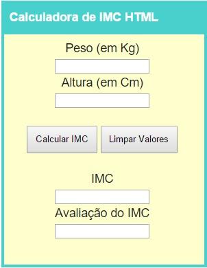 calculadora imc codigo html