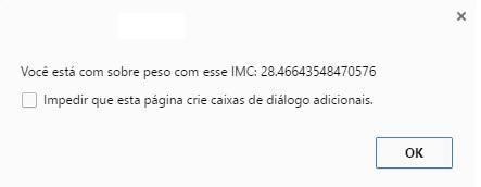 Caixa de resposta calculo IMC